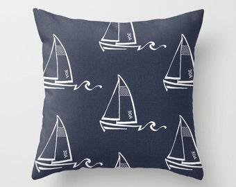 Navy Blue Pillow cover Beachy Pillow Cover Decorative Pillow Cover Sailboat Pillow Ocean Pillow Sailing Pillow Lakehouse Pillow
