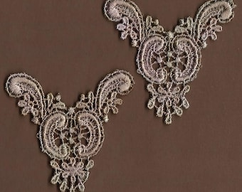 Hand Dyed Venise Lace  Appliques Edwardian Accents Set of 2  Sea Blush