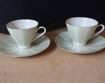 Mitterteich A.G., Bavaria, 8068, two cups and saucers from the 1940s, pastel striped sand-yellow decoration