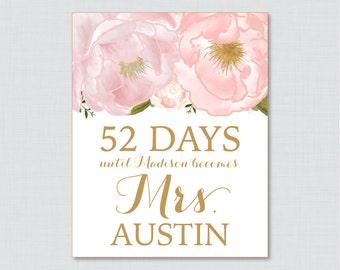 Days Until Mrs Floral Bridal Shower Sign Printable - Blush Pink and Gold Flowers  Days Until Wedding Sign - Pink Gold Garden Bridal 0007