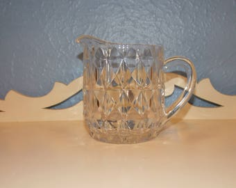 Antique Jeanette Glass Windsor Diamond Small Glass Pitcher Creamer