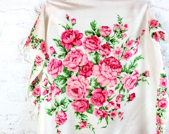 Rose Bouquet Floral Scarf on White by Echo . Medium 80s 1980s Flower Scarf in Red and Pink with green hues . spring summer april may