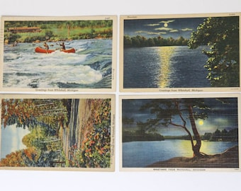 Whitehall, Michigan Vintage Post Cards - 1940s Lake and Nature Scenes - Set of 4