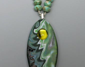 Mokume Gane Pendant, Polymer Clay and Vintage Cabochon and Czech Beads, Shades of Green, Unique Jewelry, Mother's Day Gift Idea