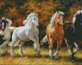 Horses drafters in autumn wildlife counted cross stitch pattern PDF