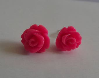 "Small ""flea"" earrings rose flower silver tone and acrylic"