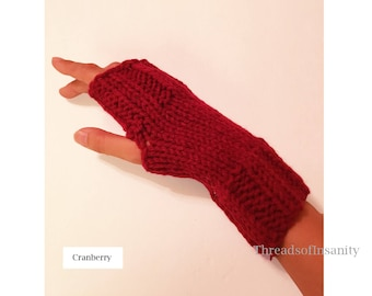 Knit Fingerless Gloves - Solid Color - Free Shipping!