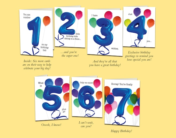 Set of 7th birthday cards that count up to a boy or m4hsunfo