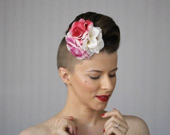 """Rose Fascinator Hair Clip for Women, Convertible to Headband Hair Accessory, ChatterBlossom 1930s Headpiece Pink Floral - """"Garden Enchanted"""""""