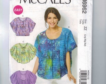 Misses Sewing Pattern McCalls M6962 6962 Misses Pullover Loose Fitting Cocoon Top Size 16 18 20 22 24 26 UNCUT