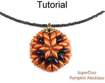 SuperDuo Pumpkin Necklace Beading Pattern - Two Hole Bead Tutorials - Halloween - Simple Bead Patterns - SuperDuo Pumpkin Necklace #26736