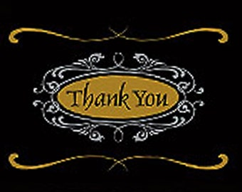 Thank You Blank Note Card, Script Note Card, Pretty Thank You Card, Scroll Thank You Note Card for Gifts