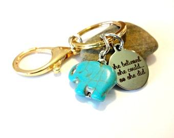 Elephant Keychain, Graduation Gift, She Believed She Could, Elephant Gift, Charm Keychain, Turquoise Keychain, Good Luck Key, Lucky Charm