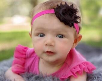 Black Shabby Chic Flower Headband, Hot Pink Fold Over Elastic Headband, Baby Girl Headband, New Born Headband, Photo Headband, Accessories