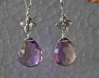 Large Amethyst Dangle Earrings with Flower, Floral Earrings in Silver, Flower and Purple Stone Earrings, Gift for Her, Ametrine Earrings