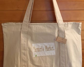Canvas Tote with Embroidery: Farmer's Market.