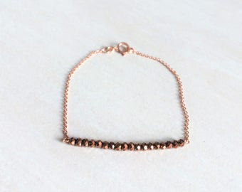 Bracelet plated rose gold and Brown faceted beads