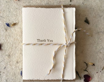Letterpress Thank You cards pack of 8