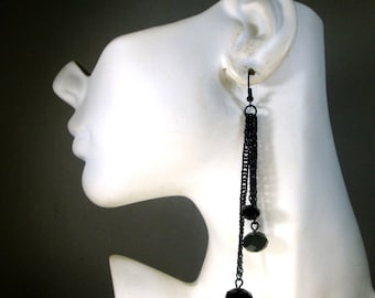 SEXY Black Chain Long Dangle Earrings, Black GLASS Faceted Bead Ends By Rachelle Starr
