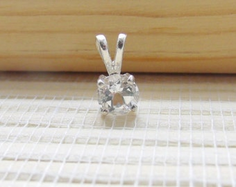 White Topaz Necklace Pendant Sterling Silver April Birthstone 6mm Made To Order