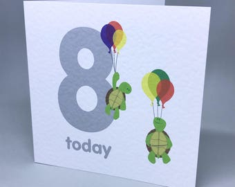 Balloon ride birthday card with age