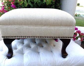 Custom Linen Ottoman Footstool in Designer Barbara Berry Linen Woven Fabric with Nail Head Trim