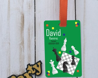 Personalized chess id backpack tag, custom name tag, school tag, custom backpack tag, personalized tag, custom chess id tag, boy/girl tag