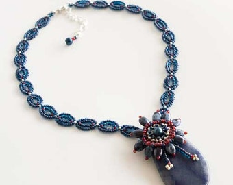 Beaded Necklace in Blue, Red and Silver with Sodalite Gemstone Pendant and Flower Glass Pearls Embellishment. American Flag Colors S96