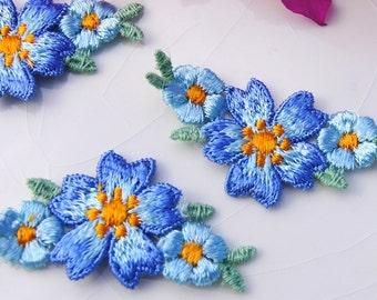 1960s Vintage Flower Applique, Blue Flower Embroidery Applique, Vintage Embroidered Applique Flower #1241