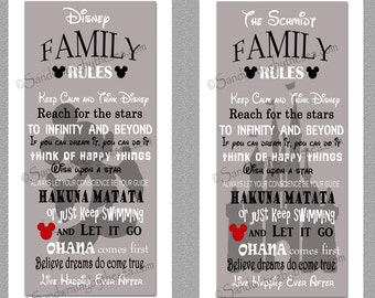 Grey Disney Family Rules print 10x20