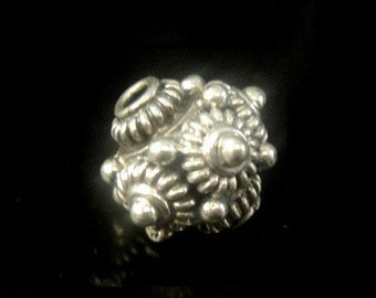 Bali Silver Bead, Bali Sterling Silver Granulation and WIre Bead- 9.5x9.5mm