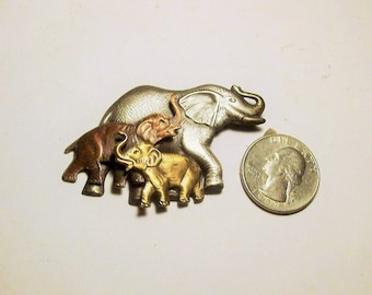A Gorgeous Trio of Elephants' Brooch ~ Trunks up for Good Luck ~ Signed K & T on Reverse