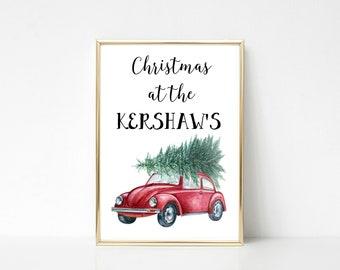Personalised Christmas Wall Art Print