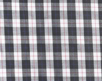 Black And White Check Polycotton Fabric - 44 Inches Wide