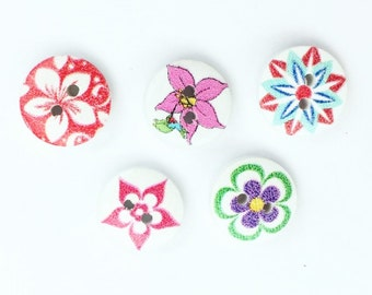 Pink Floral Mixed Buttons - Small Button - Red Floral Buttons - 15 mm Button - Half Inch Button - Turquoise Flower Button - Craft Supplies