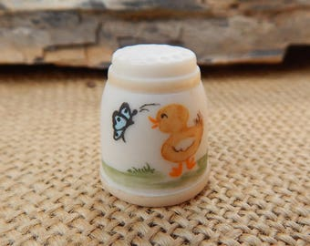 Lawrence Welk Village Bisque Thimble  ~  Lawrence Welk Village Souvenir Bisque Thimble with Yellow Chick and Butterfly  ~  Numbered Thimble