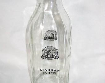 Vintage  Marran Farms Clear Glass Milk Bottle