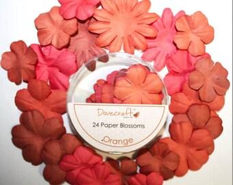 LOT 24 COLOR ORANGE SCRAP SCRAPBOOKING PAPER FLOWERS SHARE ALBUM
