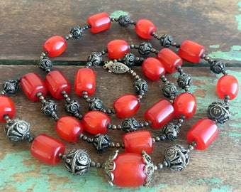 Antique Red Cherry Amber Faturan Bakelite Silver Filigree Barrel Beaded Necklace 87 g