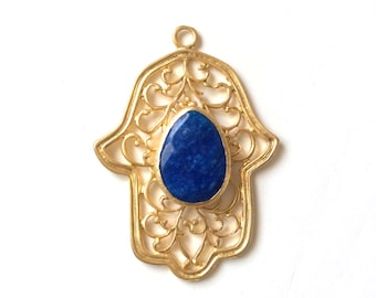 1pc Matte 22K Gold Plated Base Hand of Hamsa Dark blue Jade Charm - 50x68mm-(014-048GP)