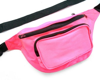 Classic 80s Hot Neon Pink Rave Fanny Pack - 26 to 48