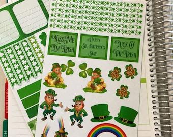 TNT012 St. Patrick's Day, March, Decoration, Erin Condren Vertical/Horizontal Layout Planner Sticker Kit