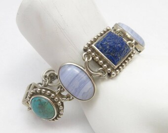 Sterling Silver Carved Lapis Lazuli, Blue Lace Agate, Turquoise & Mother of Pearl Beaded Accent Toggle Bracelet