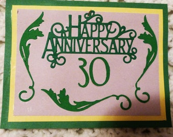 Happy Anniversary 30th Handmade Greeting Green and Yellow Greeting Card, Made in the USA, #397
