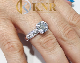 14k white gold princess cut moissanite and round and baguettes diamond engagement ring prong set, bridal, anniversary, wedding, halo 2.00ctw