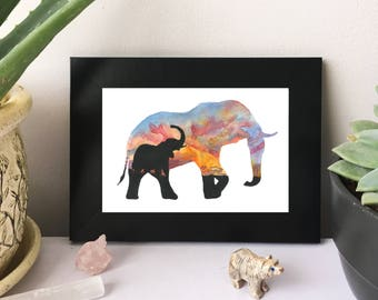 Pastel Serengeti Sunset Elephant Silhouette - Original Watercolor Painting - PRINT - 4x6 - Landscape - Africa - National Park - Sky - Nature