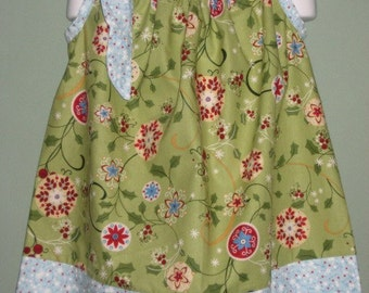 Girls Green and Blue Holiday pillowcase dress, Last one, size 3