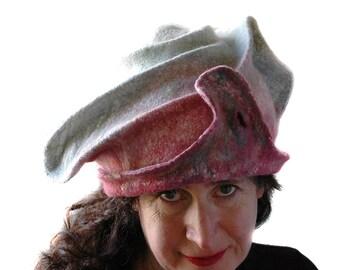 Unique Felted Hat with Sculptural Shaping  Unicorn Colored Wearable Art Hat Sculpture in Pale Pastel Colors Scruptious Glacier Color