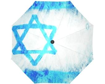 3D effect-Israel flag- Large and automatic foldable umbrella- Rain and sun- customizable-Handpainted design