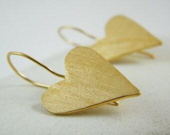 Gold heart dangle earrings gold heart earrings Love gold earring Valentines day jewelry gift